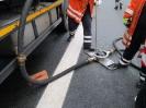 Auslaufen klein nach Verkehrsunfall